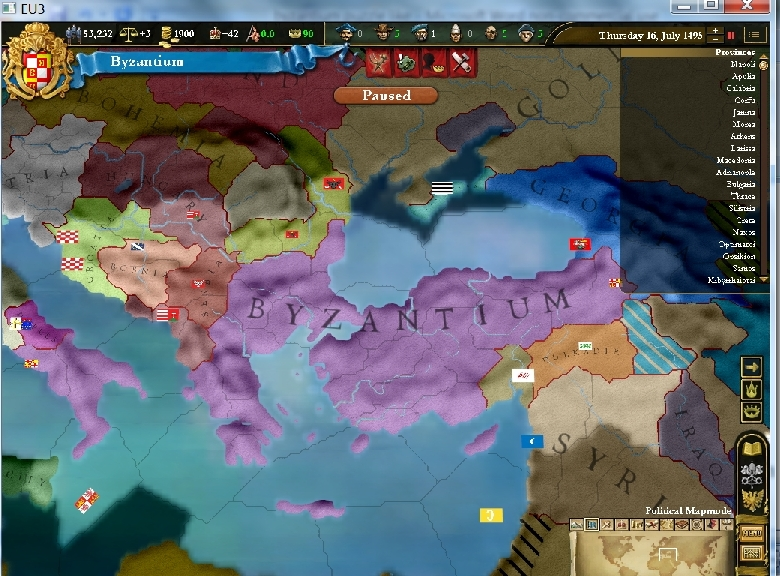 Puzzle or strategy? Byzantium in Europa Universalis III (2/2)